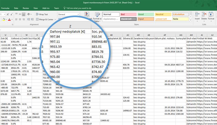 2608e3417 Ukážka exportu sledovaných firiem s informáciami o dlhoch